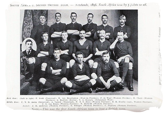 This was the first South African team to beat a British team. The match was between the South Africans and the second British team played at Newlands in the Cape in 1896. South Africa won by 5 points to nil - Rugby in South Africa and the South Africa rugby team