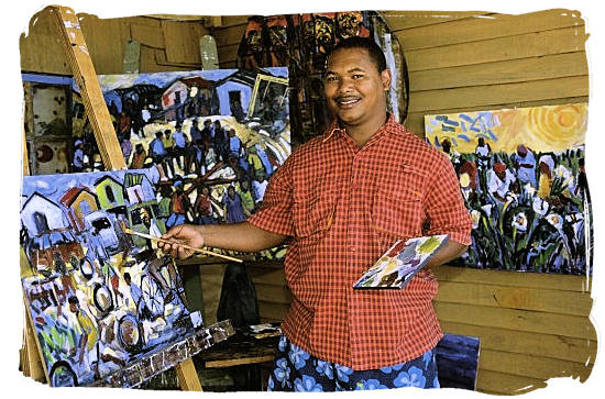 Well known South African artist Sandy Esau in his art studio in Darling, Western Cape province - South African Art, Art Galleries in South Africa, South African Artists><br>