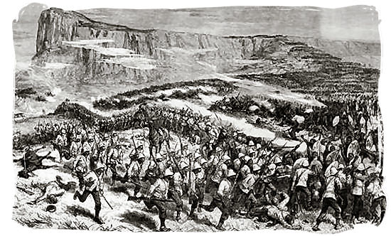 19th century sketch of the Battle of Isandlwana - The Anglo Zulu war, more about Zulu people and Zulu history