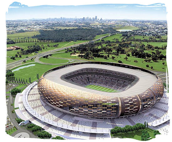 The FNB stadium generally called Soccer City between Johannesburg and Soweto