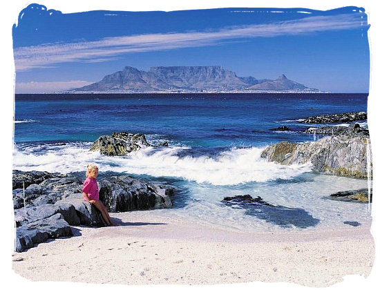Table Mountain with Cape Town at its feet viewed from Blouberg beach.