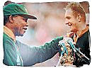 Nelson Mandela congratulating Francois Pienaar, rugby world championships