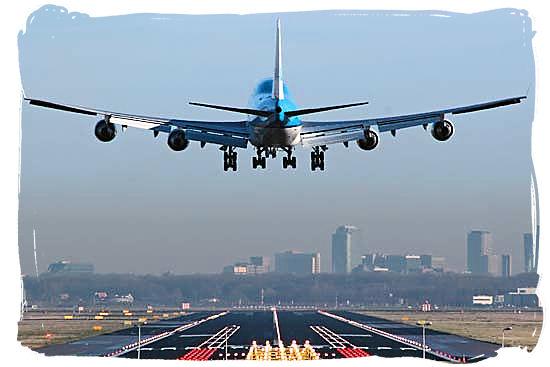 Airplane landing at O.T. Tambo International Airport at Johannesburg