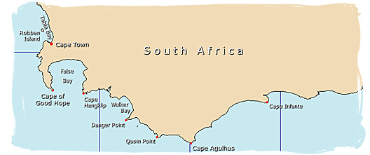 The Cape of Good Hope is not the most southern tip of Africa