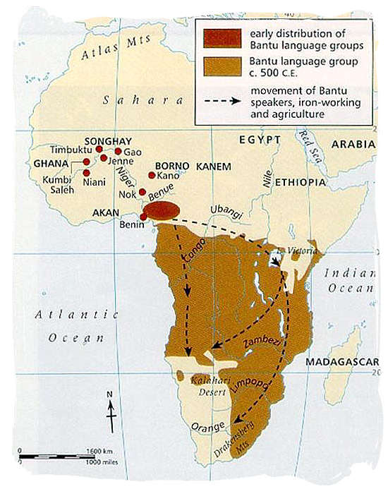 Map showing origination and southward migration of the Black people in Africa