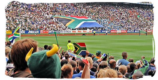 Rugby crowd unraveling a massive South African flag - South Africa Rugby, Tri Nations Rugby and Super 14 Rugby