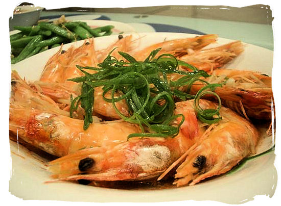 Delicious prawns - seafood cuisine in South Africa.