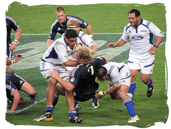 Schalk Burger having a difficult time in a match between the Stormers from Cape Town South Africa and the Blues from Auckland New Zealand - South Africa Rugby, Tri Nations Rugby and Super 14 Rugby