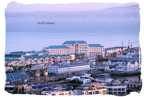 View of Table Bay hotel at the V&A Waterfront and of Table Bay itself - Victoria & Alfred Waterfront Cape Town, Table Mountain Backdrop