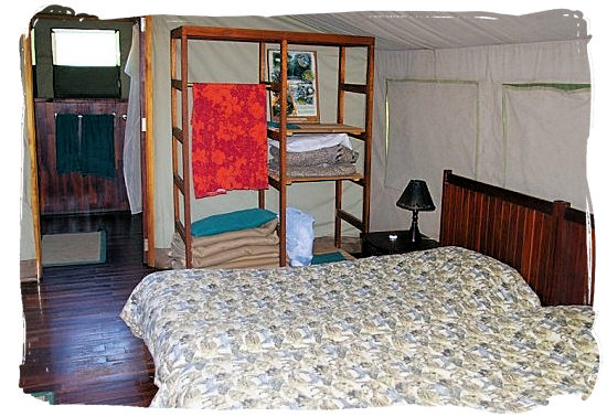 Interior of the Safari tents in Tlopi rest camp - Marakele National Park accommodation