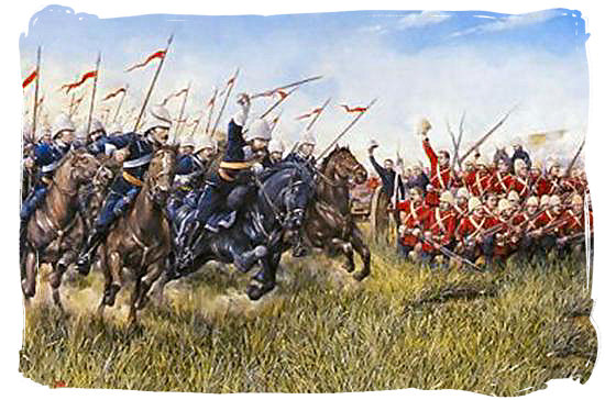 The 17th lancers on the charge in the battle of Ulundi - The Anglo Zulu war, more about Zulu people and Zulu history