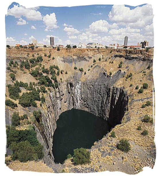 The Big Hole at Kimberley after the diamond diggers have long gone - Discovery of Gold and Diamonds in South Africa
