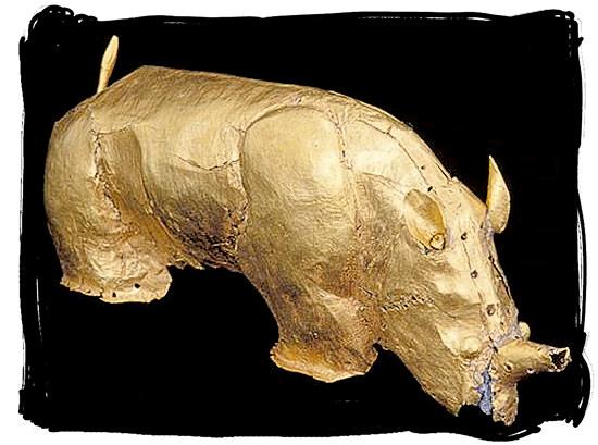 The famous Golden Rhinoceros, artefact of an ancient civilisation - Mapungubwe National Park, cultural landscape, region, ruins