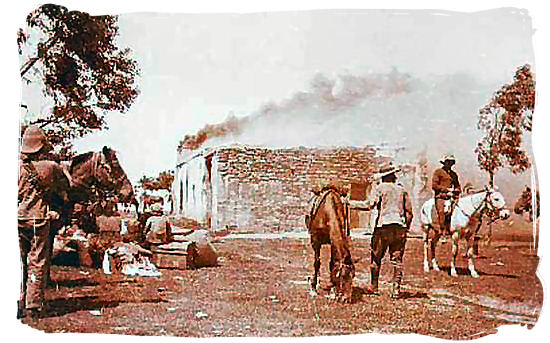 The British implementing the scorched earth policy - Anglo Boer War in South Africa
