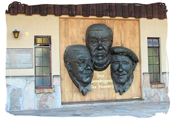 The Kruger memorial plaque in Skukuza, commemorating those who are seen as the founding fathers of the Kruger national park