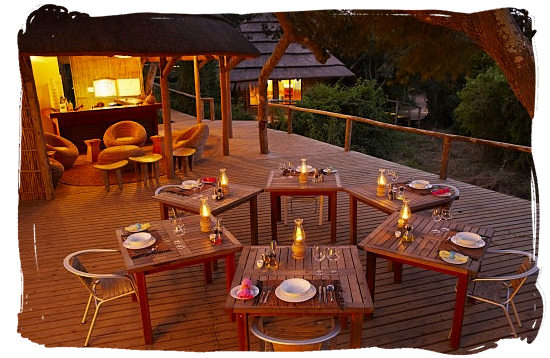 The restaurant deck at the Thonga Beach Lodge - Heritage Sites in South Africa, Nature Reserves of South Africa