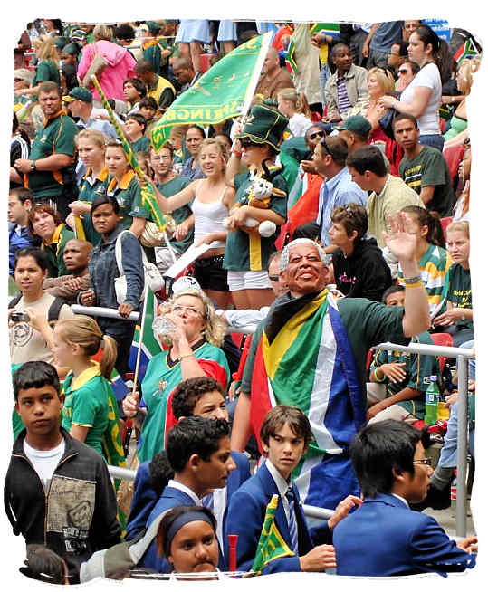 Thousands of Springbok supporters applauding their Springbok rugby heros - Rugby in South Africa and the South Africa rugby team