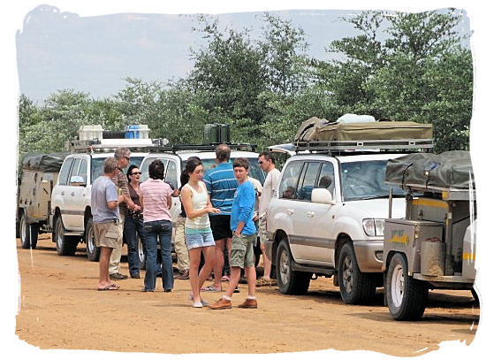 Small group of families on a self-drive safari to Khutse Game Reserve in Botswana.