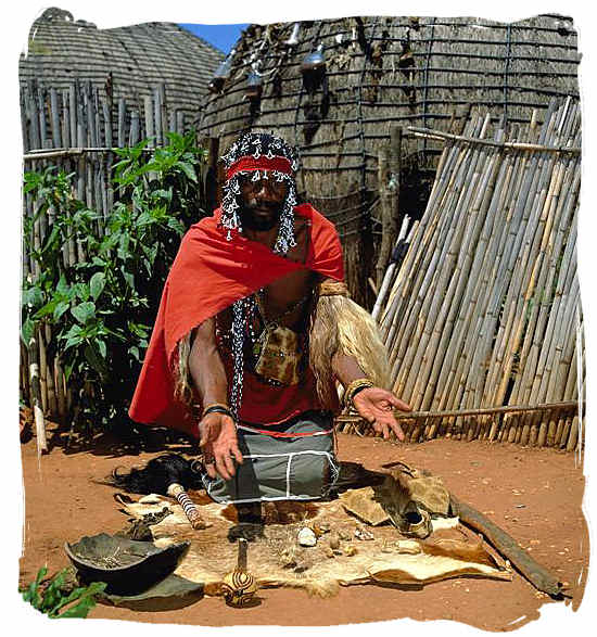 Traditional Zulu Sangoma throwing bones – Black People in South Africa, Black Population in South Africa