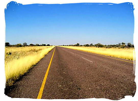 The Trans Kalahari highway - Kgalagadi Transfrontier National Park in South Africa