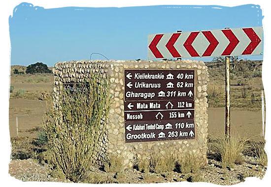 Signboard near Twee Rivieren - Kgalagadi Transfrontier National Park in the Kalahari, Kgalagadi Photos