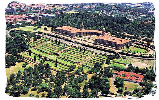 Aerial view of the Union buildings on top of Meintjes Kop in Pretoria and the surrounding gardens - South Africa Government, South Africa Government type