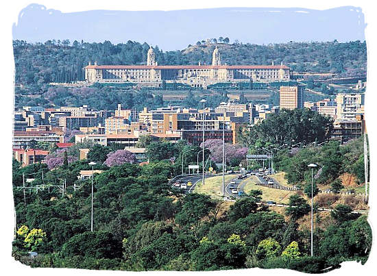 The Union Buildings viewed from the University of South Africa's main campus in Mucleneuck Pretoria, South Africa - South Africa Government, South Africa Government type