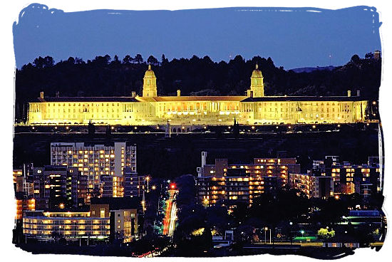 The Union Buildings viewed at night from the University of South Africa's main campus in Mucleneuck Pretoria, South Africa - South Africa Government, South Africa Government type