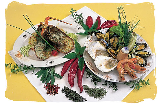 Unique variety of shellfish seafood in South Africa - seafood cuisine in South Africa