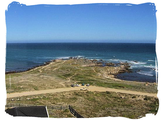 View from the Agulhas lighthouse at the most southern tip of Africa at Cape Agulhas