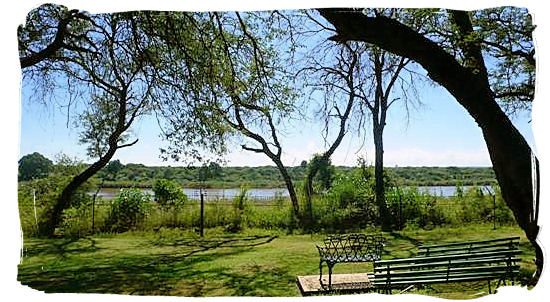 View across the Sabie river from the cottages at the camp - Lower Sabie Rest Camp in the Kruger National Park, South Africa