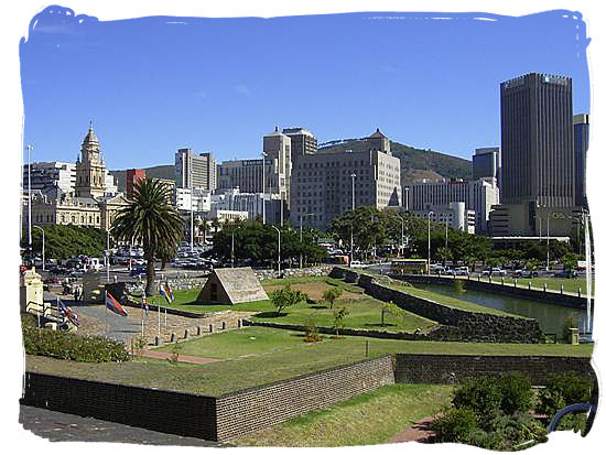View from the walls of the Castle of Good Hope towards the Cape Town CBD - Colonial history of South Africa