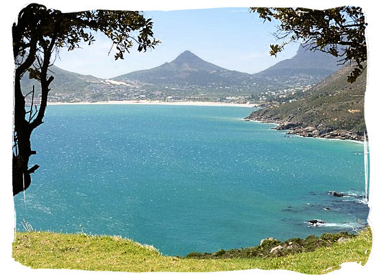View across Hout Bay with the town of Hout Bay in the distance taken from Chapman's Peak drive - Cape Town Sightseeing Highlights of the Cape Peninsula South Africa