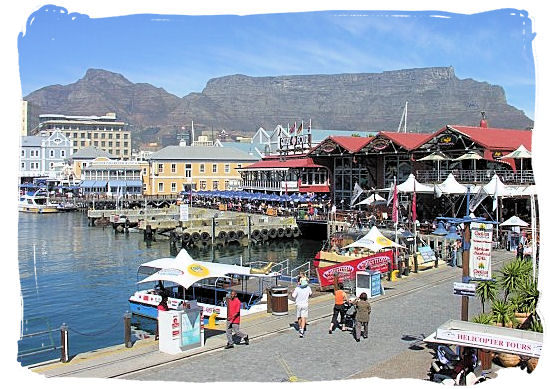 View towards the south of the V&A Waterfront with Table Mountain in the background - Victoria & Alfred Waterfront Cape Town, Table Mountain Backdrop
