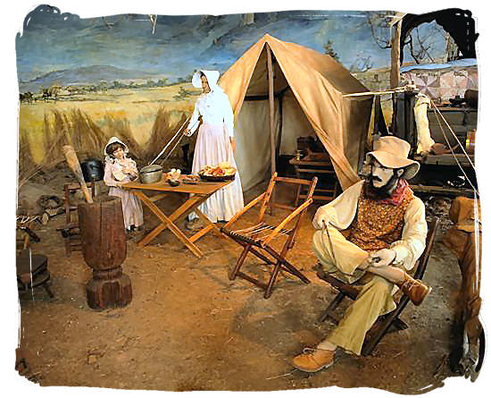 "Museum scene of a ""Laager"" (encampment) of a Voortrekker family on their journey into the interior of South Africa"