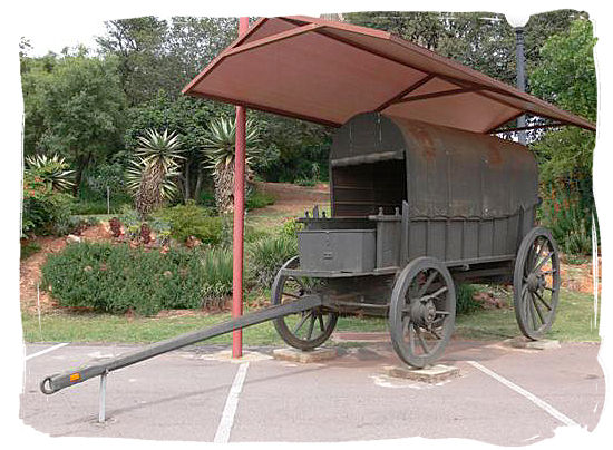 Typical Voortrekker wagon on display at the Voortrekker monument museum - The Great Trek in South Africa