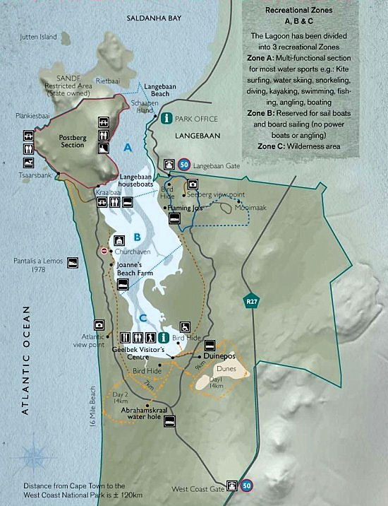 Map of the West Coast National Park showing its infra-structure - West Coast National Park, South Africa National Parks