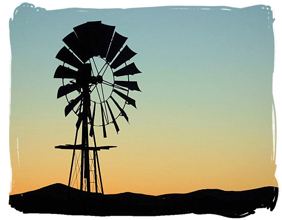 Windmill in the semi-desert Tankwa Karoo landscape - Tankwa Karoo National Park, National Parks in South Africa