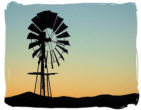 Windmill in the semi-desert Tankwa Karoo landscape - Tankwa Karoo National Park, National Parks in South Africa