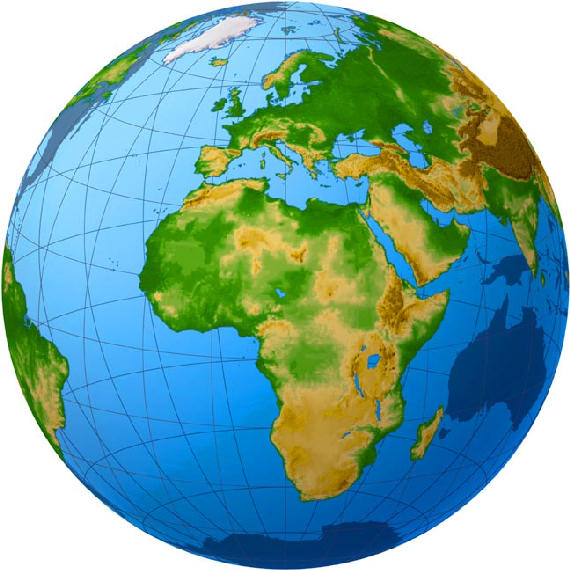 Satellite view of the African continent