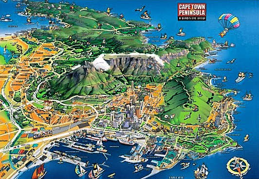 Birds eye view of Cape Town and the Peninsula - Interactive Cape Town Map (s), Street Map of the City of Cape Town