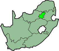Gauteng province - map position