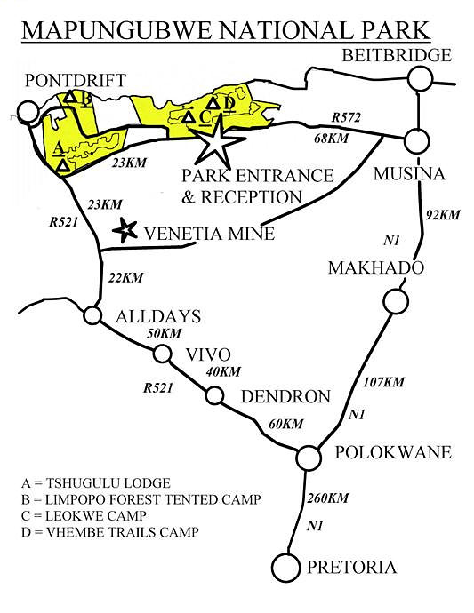 Map showing how to get to Mapungubwe South Africa from Pretoria (and Johannesburg)