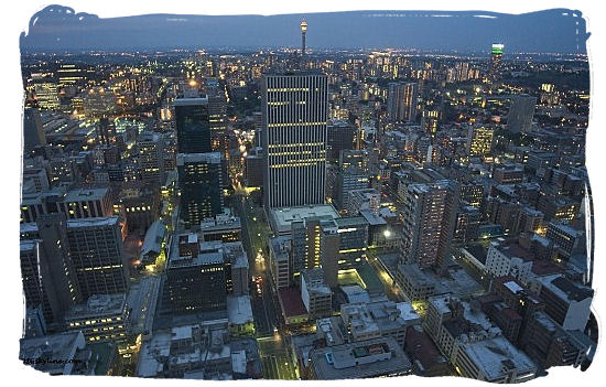 View of Johannesburg CBD at dusk - City of Johannesburg South Africa, Tours and Travel guide