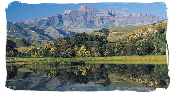 The uKhahlamba Drakensberg park with its magnificent mountain scenery in Kwazulu-Natal