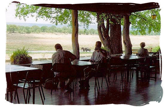View across the Letaba riverbed from the cafeteria - Letaba main rest camp, Kruger National Park, South Africa