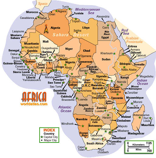 Interactive Physical Map of Africa Maps of all African Countries