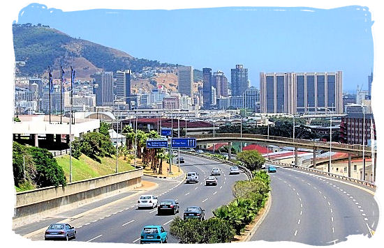 The N2, also known as the Nelson Mandela Boulevard (prev. Eastern Boulevard), as it enters the City Bowl and ends in the Central Business District - City of Cape Town South Africa, Tours and Travel Guides