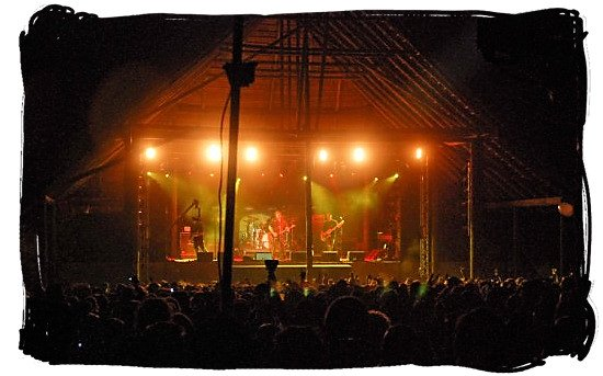 One of the thatch roof stages at the Oppikoppi Bushveld Festival - Festivals of South Africa