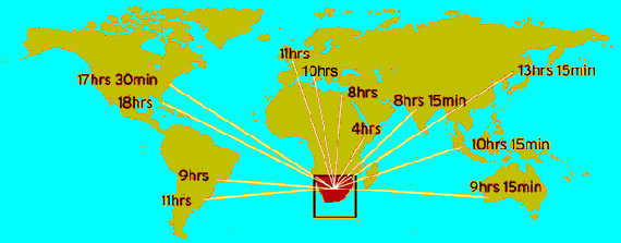 World map with flying times